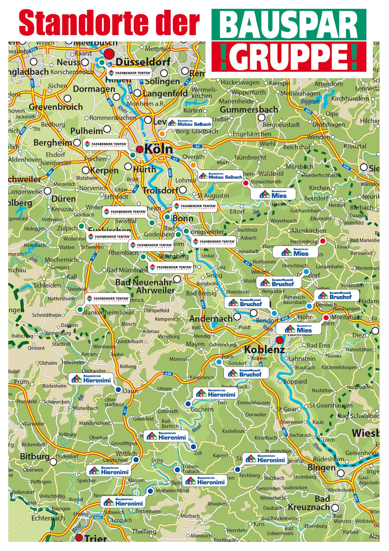 Landkarte mit den Standorten der Bauspargruppe i&M Bauzentrum Mies i&M Bauzentrum Bruchof i&M Bauzentrum Hieronimi i&M Bauzentrum Selbach Fassbender Tenten Eurobaustoff Region Rheinland