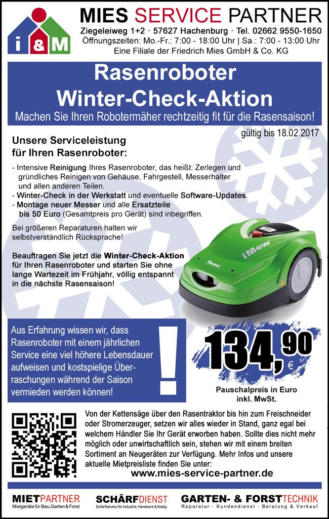 rasenroboter winter check aktion mies service partner. Black Bedroom Furniture Sets. Home Design Ideas