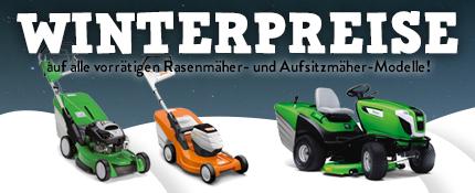 Winterpreise auf alle vorrätigen Rasenmäher- und Aufsitzmäher-Modelle der Marken STIHL, VIKING, CubCadet, Mulchmaster und solo by AL-KO